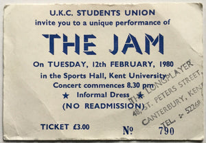 Jam Original Used Concert Ticket Sports Hall Kent University 12th Feb 1980