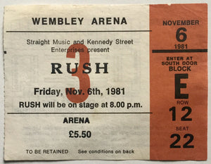 Rush Original Used Concert Ticket Wembley Arena London 6th Nov 1981