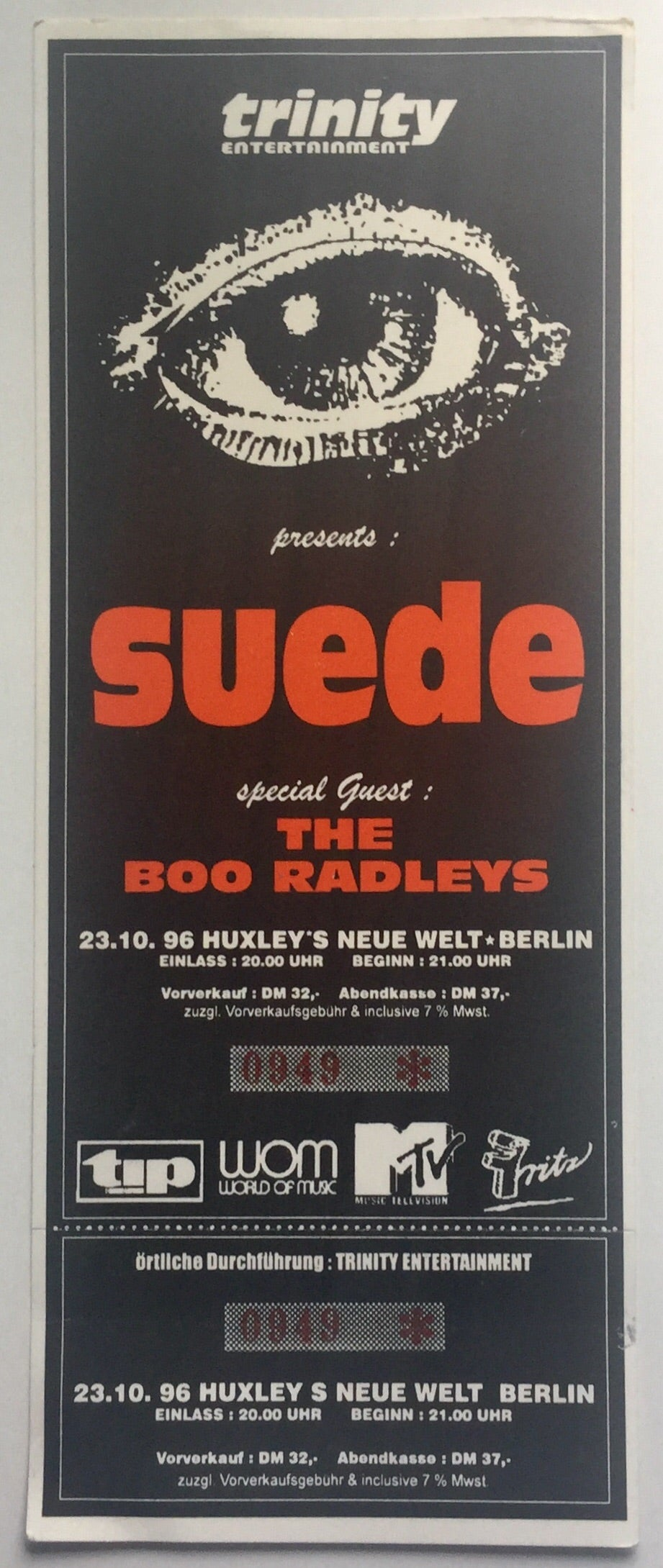 Suede Original Unused Concert Ticket Huxley's Neue Welt Berlin 23rd Oct 1996