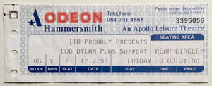 Bob Dylan Original Used Concert Ticket Hammersmith Odeon London 12th Feb 1993