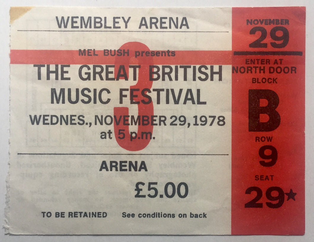 Jam Generation X Original Used Concert Ticket Wembley Arena London 29th Nov 1978