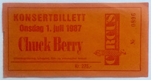 Chuck Berry Original Used Concert Ticket The Circus Oslo 1st July 1987