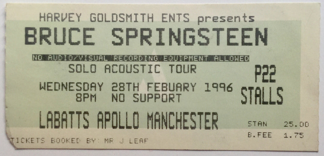 Bruce Springsteen Original Used Concert Ticket Labatts Apollo Manchester 28th Feb 1996