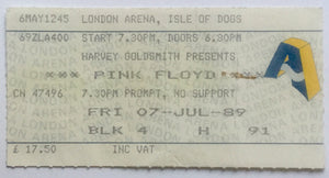 Pink Floyd Original Used Concert Ticket London Arena 7th July 1989