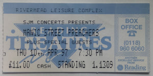 Manic Street Preachers Original Used Concert Ticket Rivermead Leisure Complex Reading 10th Apr 1997