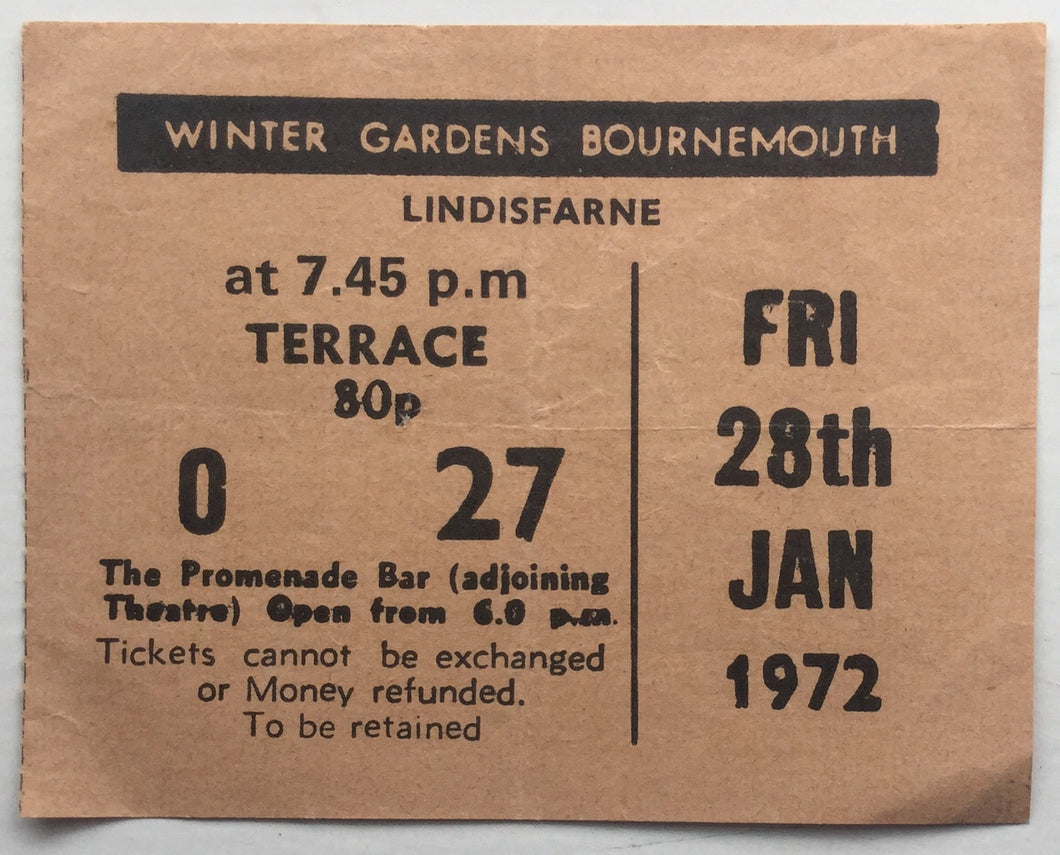 Lindisfarne Original Used Concert Ticket Winter Gardens Bournemouth 28th Jan 1972