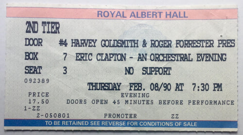 Eric Clapton Original Concert Ticket Royal Albert Hall London 8th Feb 1990