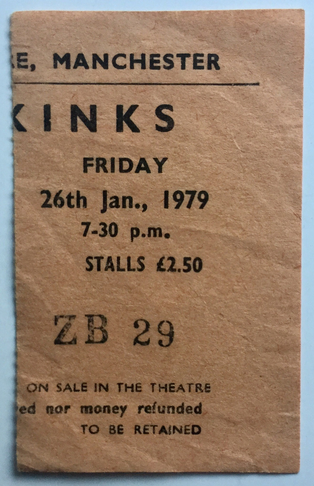 Kinks Original Used Concert Ticket Apollo Theatre Manchester 26th Jan 1979