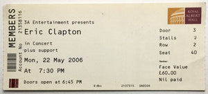 Eric Clapton Original Used Concert Ticket Royal Albert Hall London 22nd May 2006