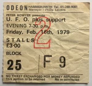 UFO U.F.O. Original Used Concert Ticket Hammersmith Odeon London 16th Feb 1979