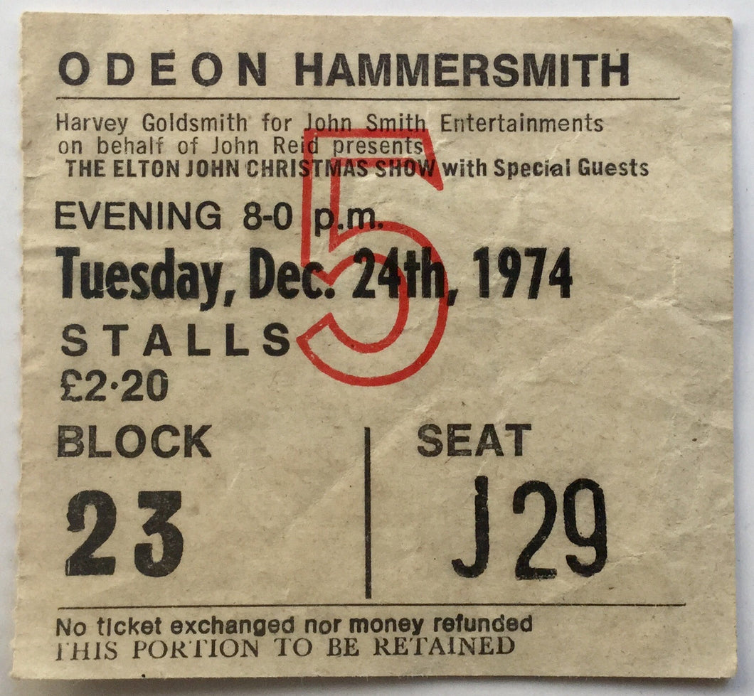 Elton John Original Used Concert Ticket Hammersmith Odeon London 24th Dec 1974