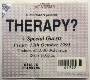 Therapy? Original Used Concert Ticket Brixton Academy London 13th Oct 1995