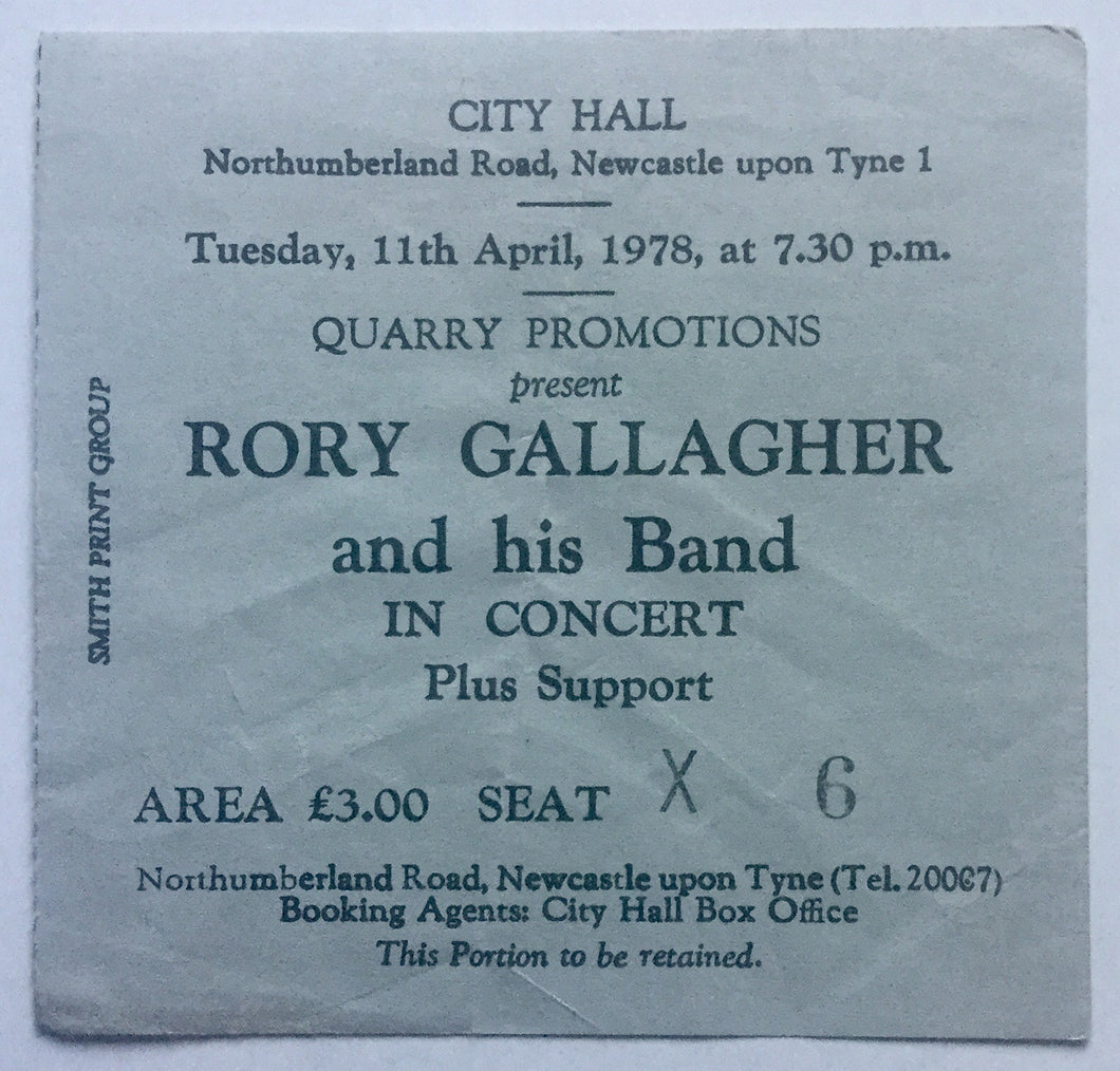 Rory Gallagher Original Concert Ticket City Hall Newcastle 11th Apr 1978