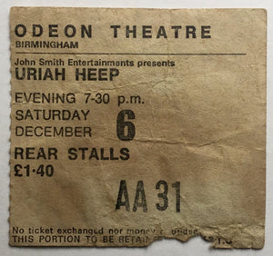 Uriah Heep Original Used Concert Ticket Odeon Theatre Birmingham 6th Dec 1975
