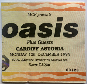 Oasis Original Used Concert Ticket Cardiff Astoria 12th Dec 1994