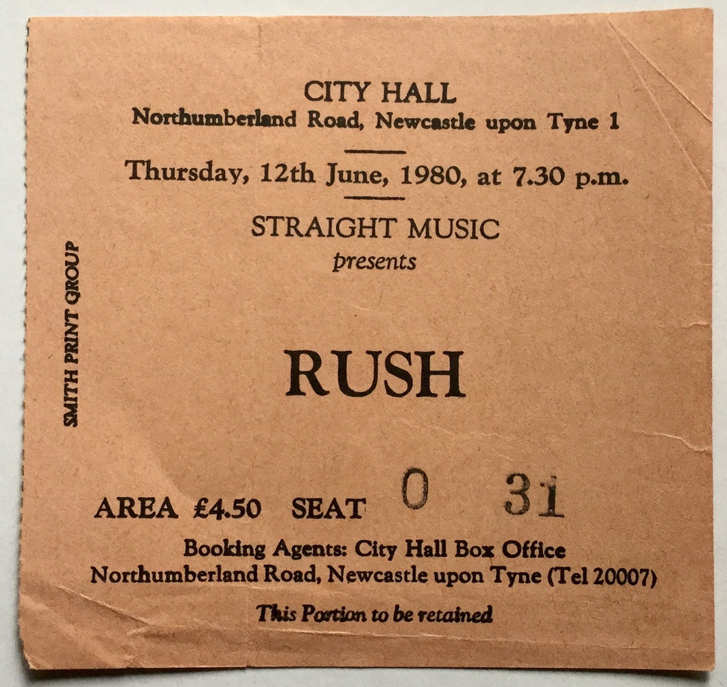 Rush Original Used Concert Ticket City Hall Newcastle 12th June 1980