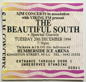 Beautiful South Original Used Concert Ticket  Humberside Ice Arena Hull 20th Dec 1994