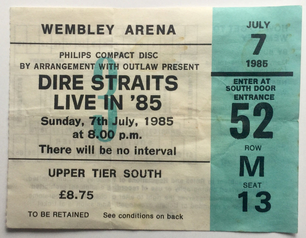 Dire Straits Original Used Concert Ticket Wembley Arena London 7th July 1985