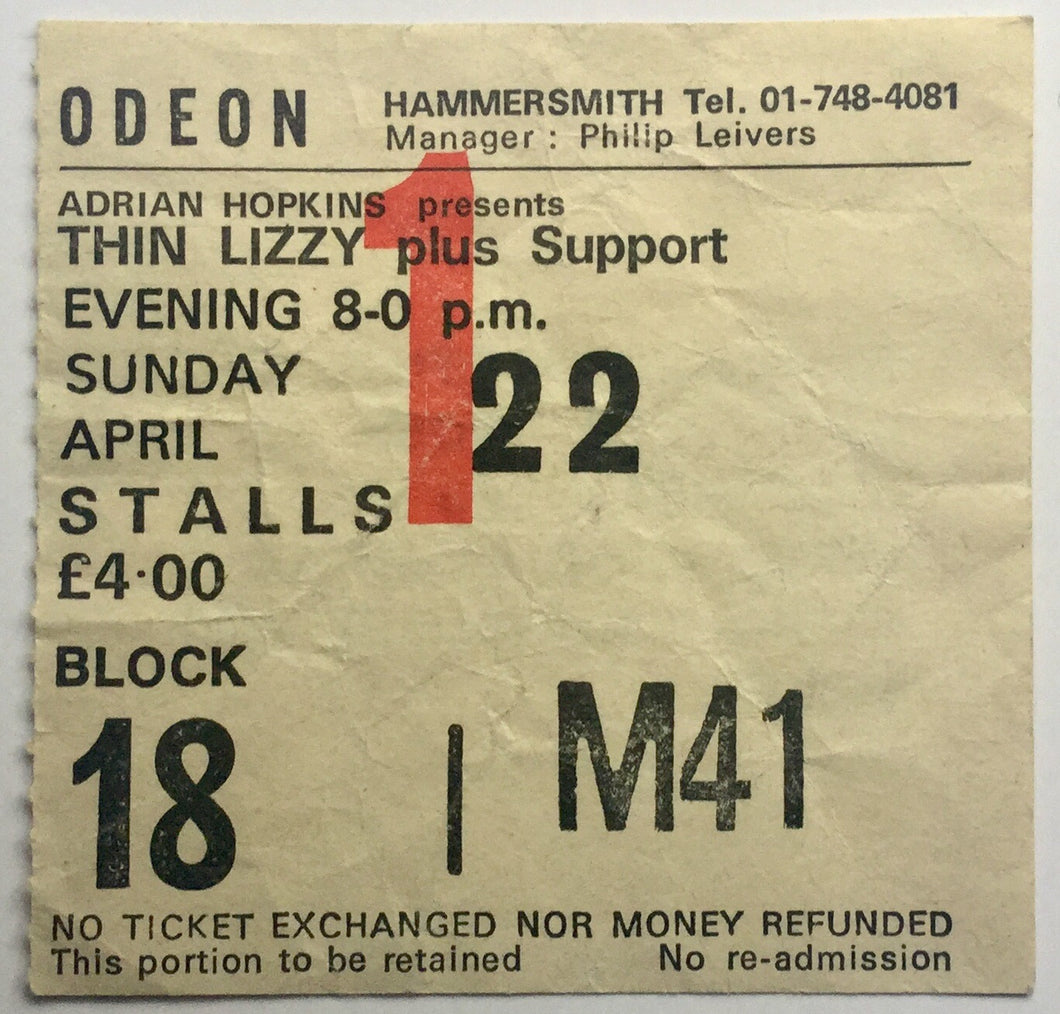 Thin Lizzy Original Used Concert Ticket Hammersmith Odeon London 22nd April 1979