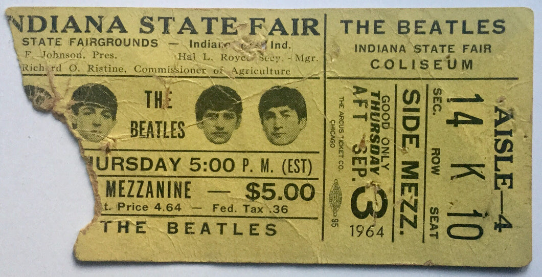 Beatles Original Used Concert Ticket Indiana State Fair Coliseum 3rd Sept 1964