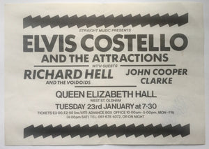 Elvia Costello Richard Hell John Cooper Clarke Original Concert Handbill Flyer Queen Elizabeth Hall Oldham 23rd Jan 1979