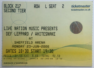 Def Leppard Whitesnake Original Used Concert Ticket Sheffield Arena 23rd Jun 2008