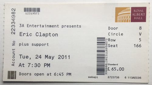 Eric Clapton Original Used Concert Ticket Royal Albert Hall London 24th May 2011