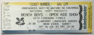Beach Boys Original Complete Concert Ticket  Claremont Garden Esher 26th Jul 2003