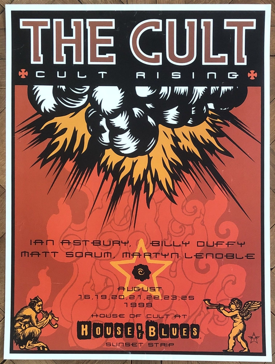 Cult Shepard Fairey Original Concert Tour Gig Poster House of Blues Los Angeles 16-25th Aug 1999