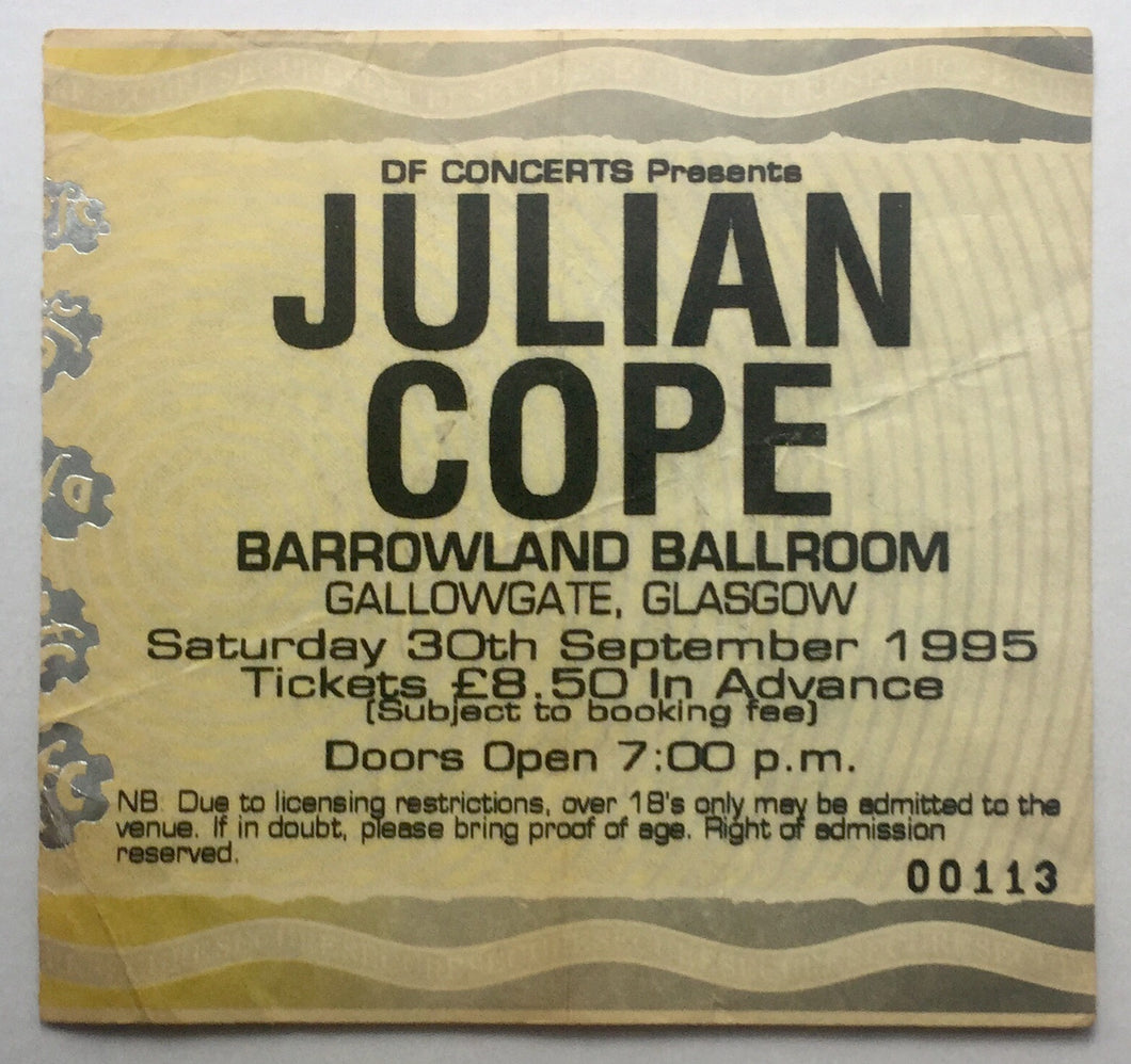 Julian Cope Original Used Concert Ticket Barrowlands Glasgow 30th Sept 1995