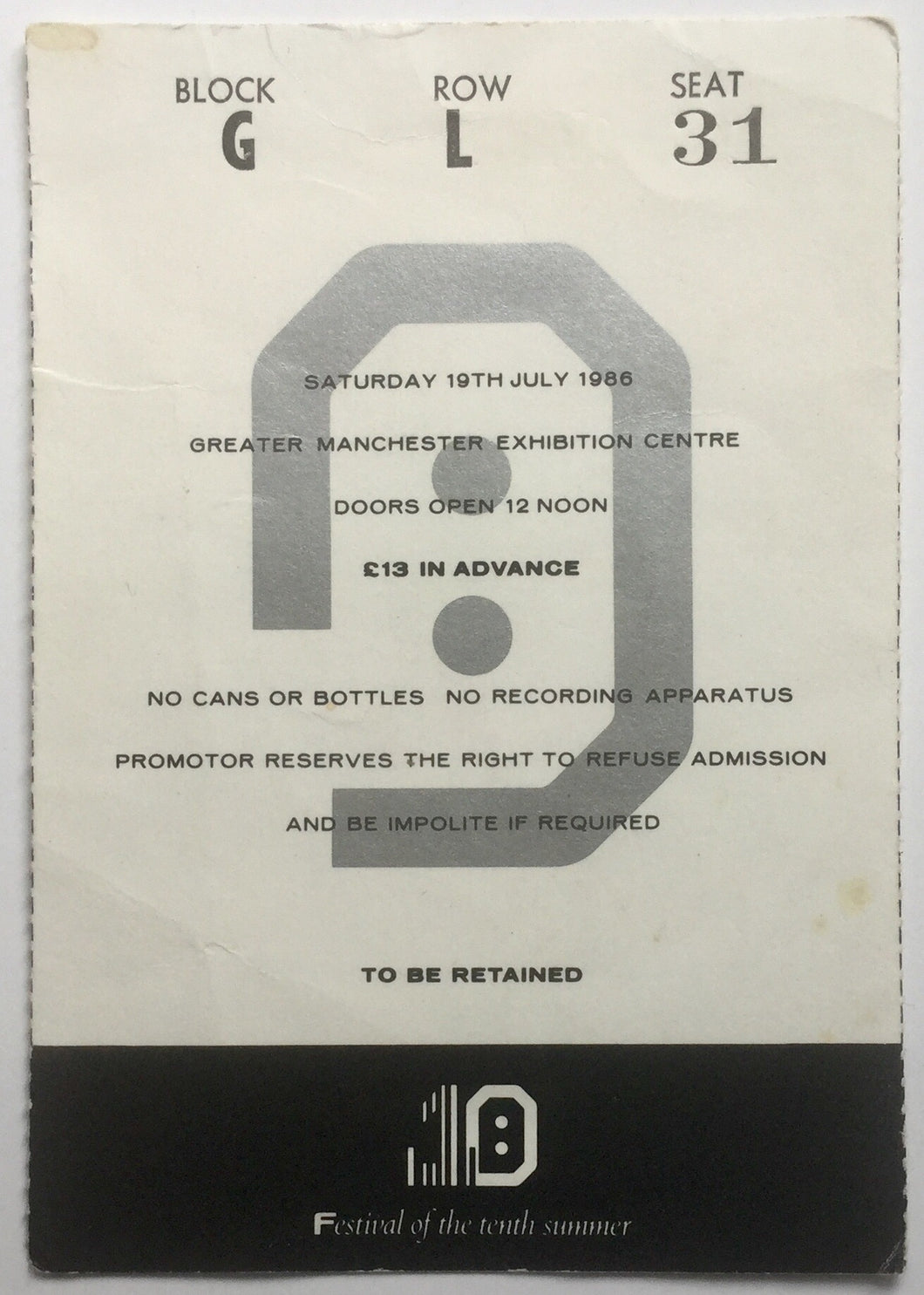 New Order The Smiths Original Used Concert Ticket GMEX Festival Manchester 19th July 1986
