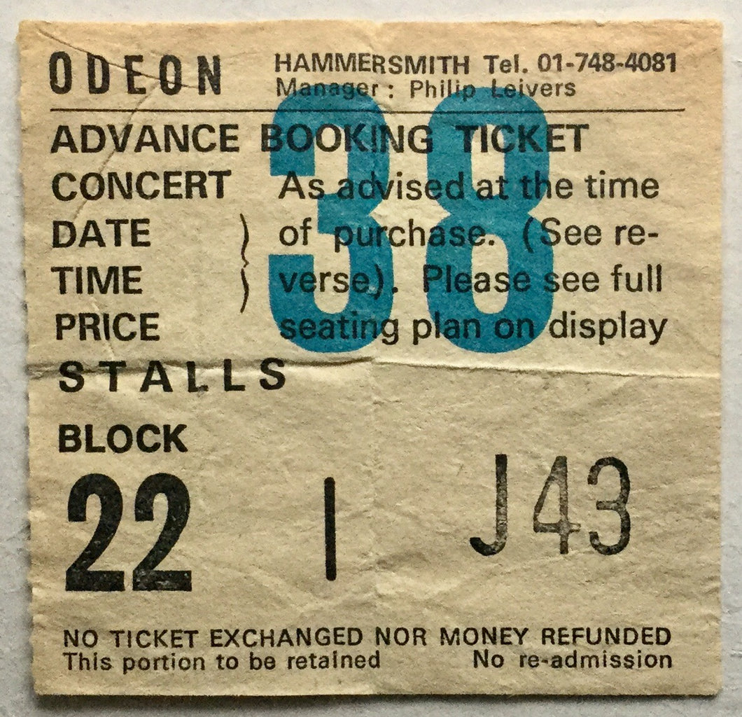 Blue Oyster Cult Original Used Concert Ticket Hammersmith Odeon London 5th Nov 1979