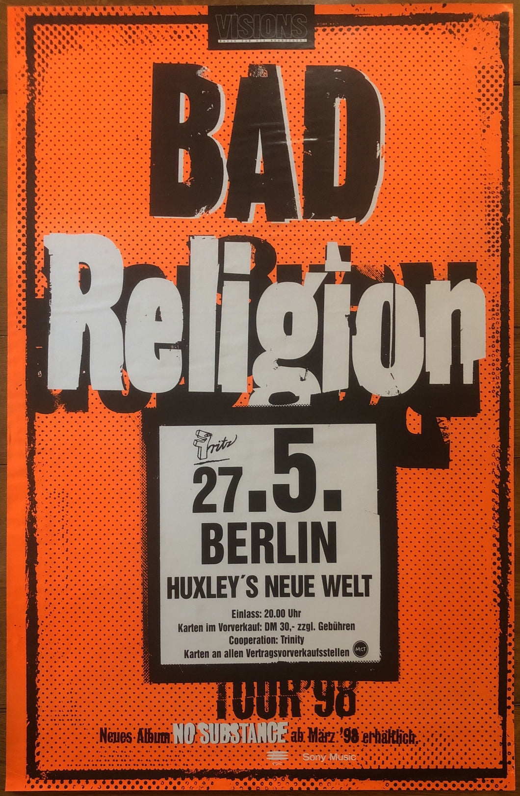 Bad Religion Original Promo Concert Gig Poster Huxley's Neue Welt Berlin 27th May 1998