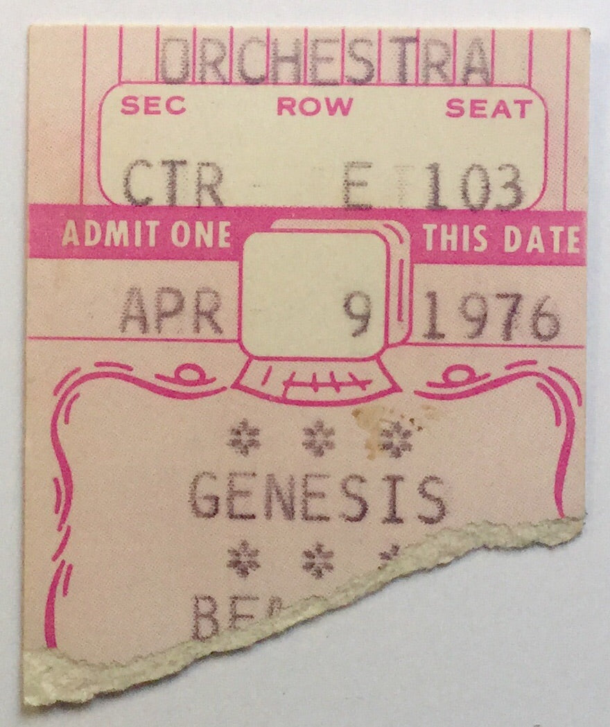 Genesis Original Used Concert Ticket Beacon Theatre New York 9th Apr 1976
