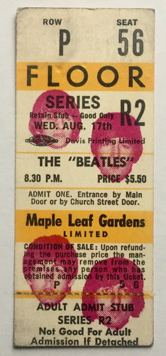 Beatles Original Unused Concert Ticket Maple Leaf Gardens Toronto 17th Aug 1966
