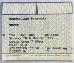 Suede Original Early Used Concert Ticket Limelight Belfast 28th March 1993