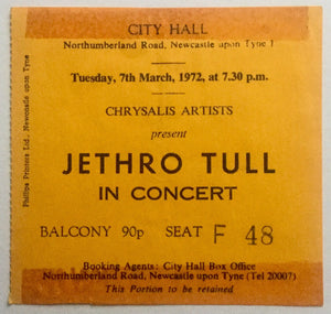 Jethro Tull Original Used Concert Ticket City Hall Newcastle 7th Mar 1972