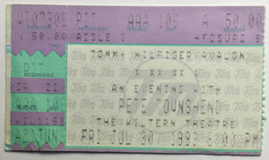 Who Pete Townshend Original Used Concert Ticket Wiltern Theatre Los Angeles 30th July 1993