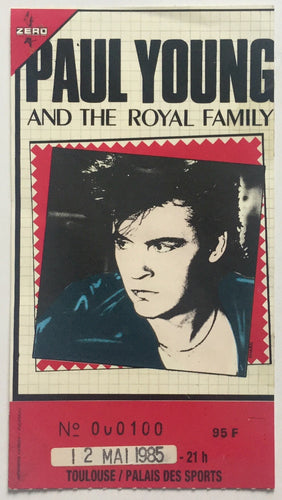 Paul Young Original Used Concert Ticket Palais Dec Sports Toulouse 12th May 1985