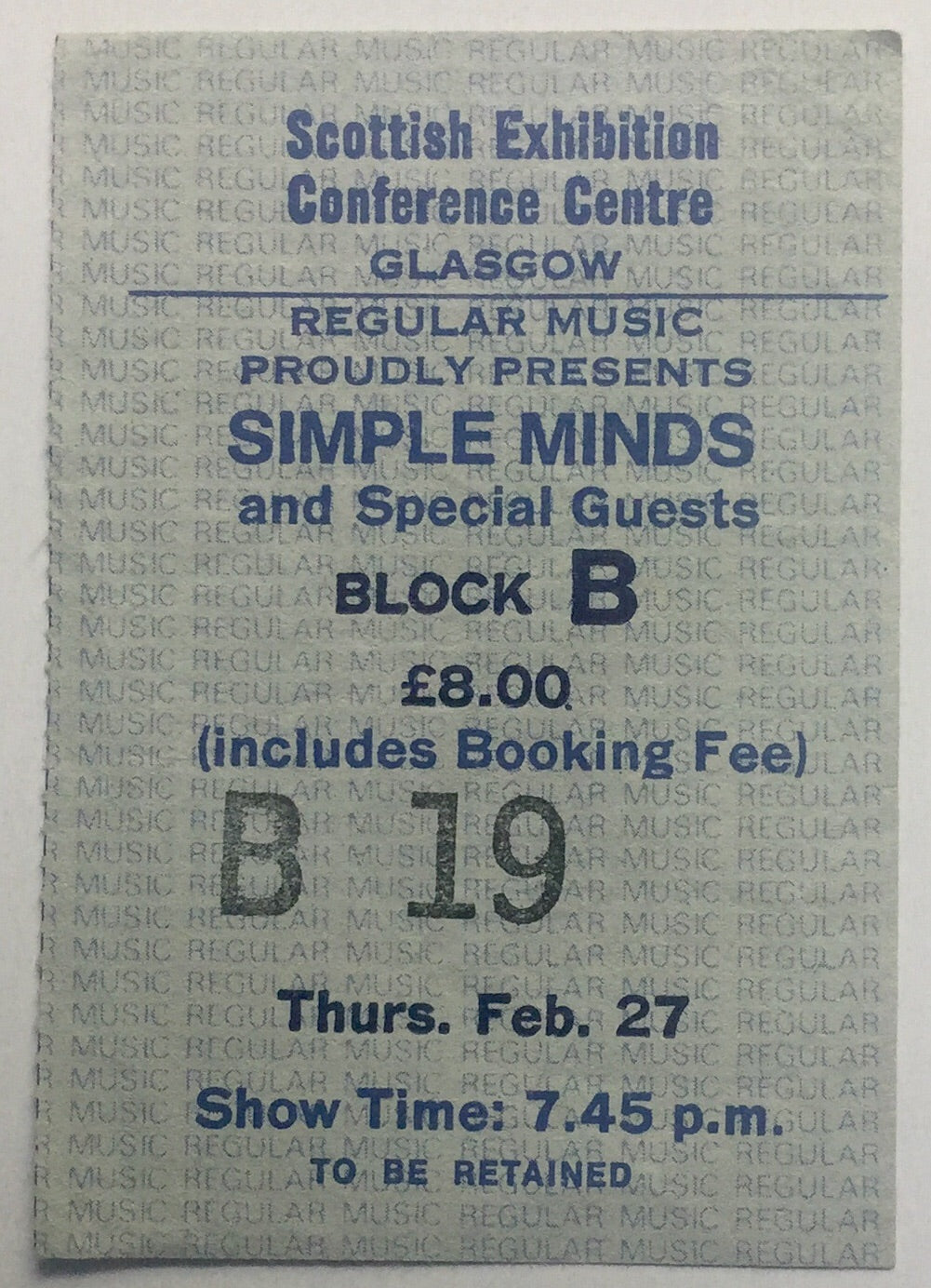 Simple Minds Original Used Concert Ticket SECC Glasgow 27th Feb 1986