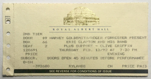 Eric Clapton Original Used Concert Ticket Royal Albert Hall London 13th Feb 1992