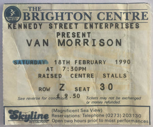 Van Morrison Original Used Concert Ticket The Brighton Centre 18th Feb 1990