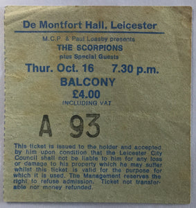 Scorpions Original Used Concert Ticket De Montfort Hall 16th Oct 1980
