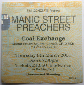 Manic Street Preachers Original Used Concert Ticket Coal Exchange Cardiff 8th Mar 2001