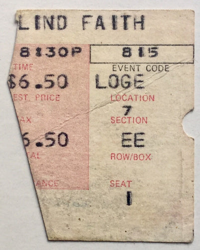 Blind Faith Eric Clapton Original Used Concert Ticket The Forum Los Angeles 15th Aug 1969