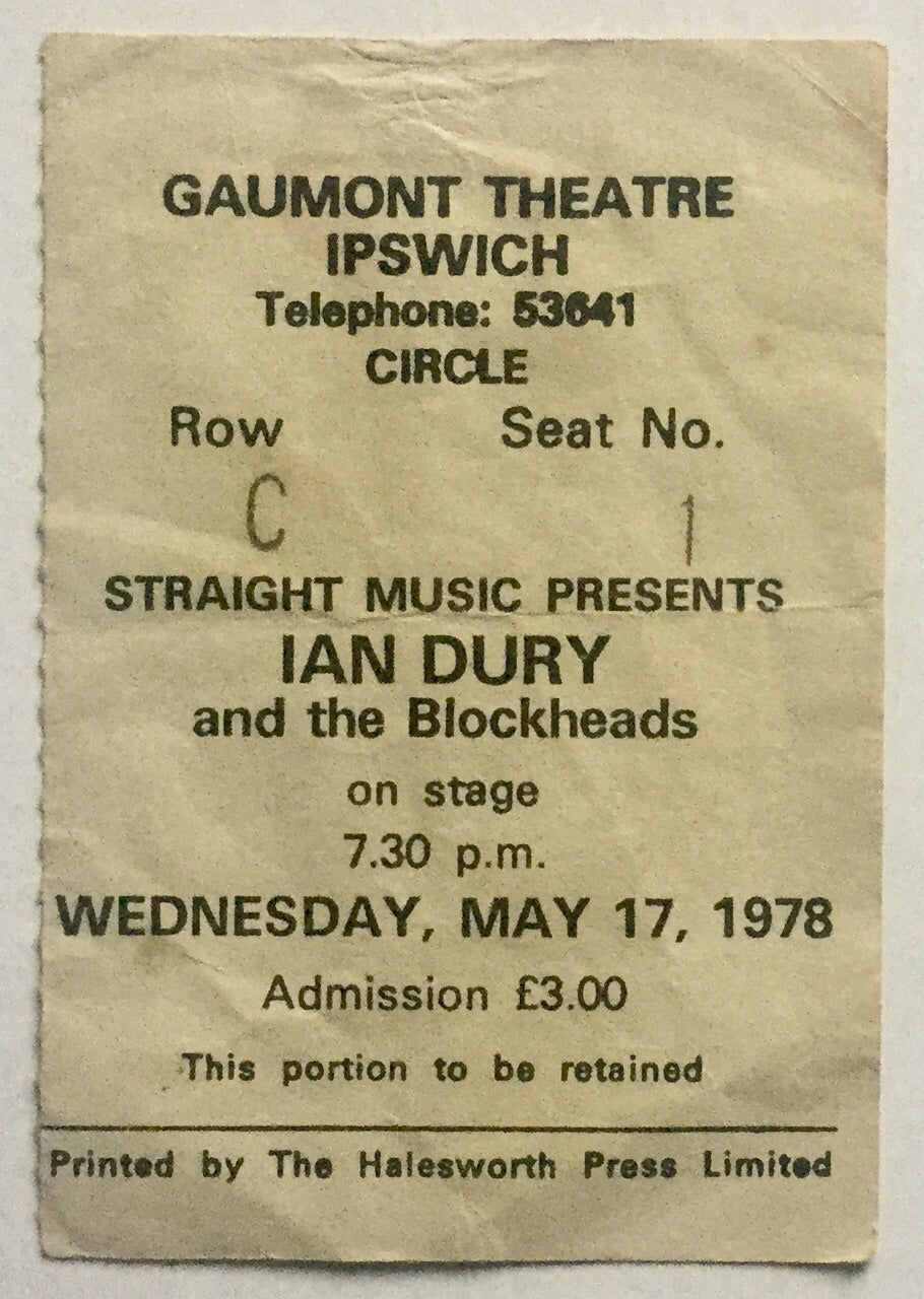 Ian Dury & the Blockheads Original Used Concert Ticket Gaumont Theatre Ipswich 17th May 1978