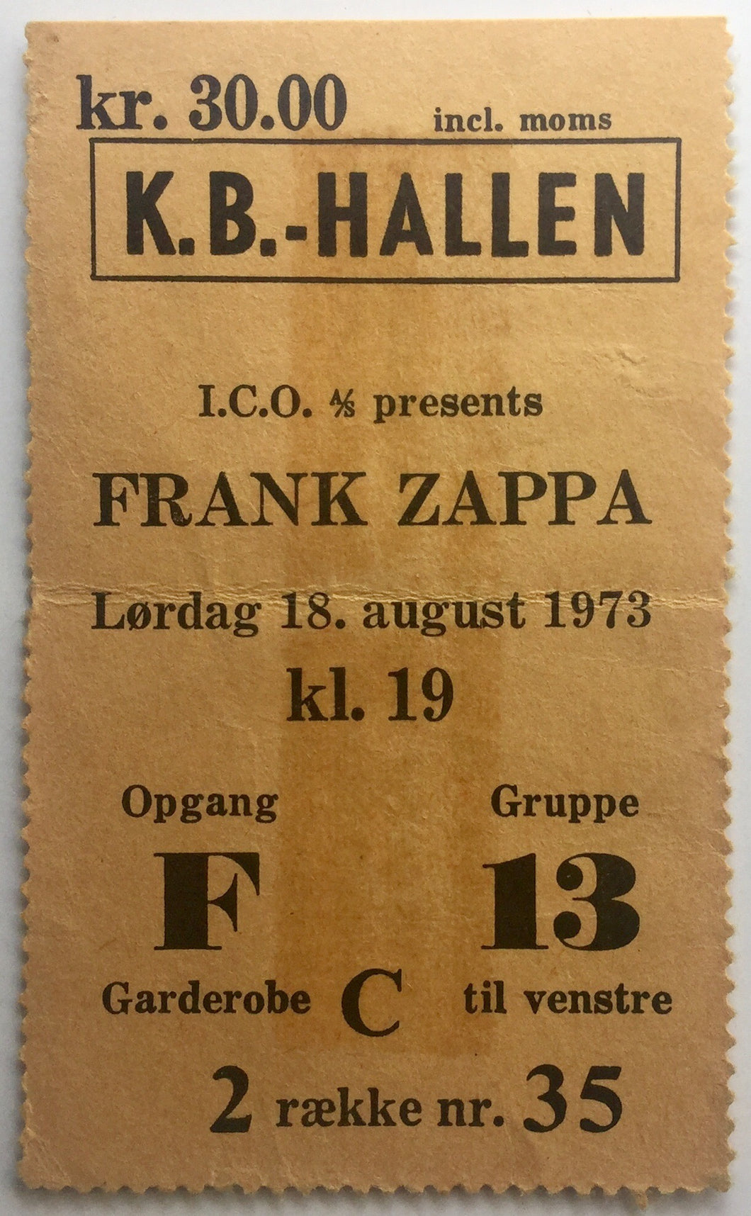 Frank Zappa Original Used Concert Ticket KB Hallen Copenhagen 18th Aug 1973