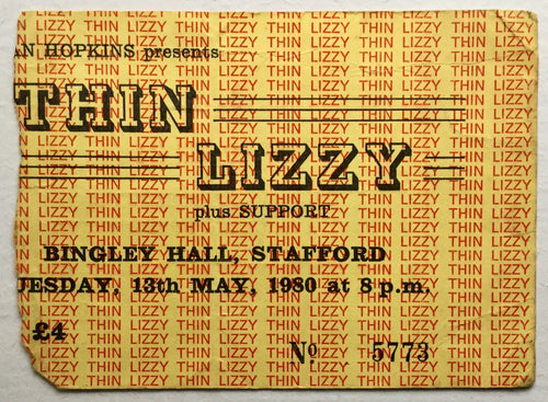 Thin Lizzy Original Used Concert Ticket Bingley Hall Stafford 1980
