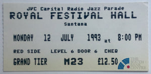 Santana Original Used Concert Ticket Royal Festival Hall London 12th July 1993