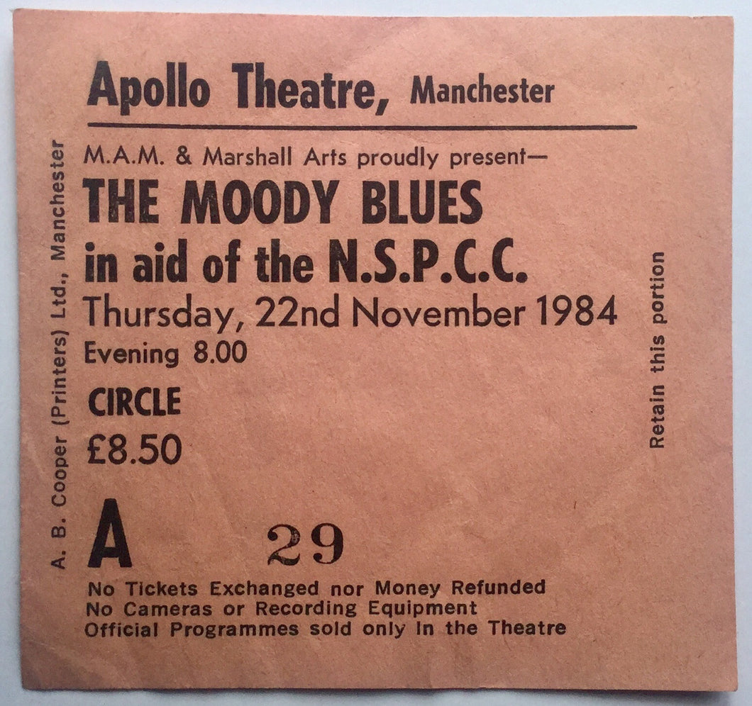 Moody Blues Original Used Concert Ticket Apollo Theatre Manchester 22nd Nov 1984